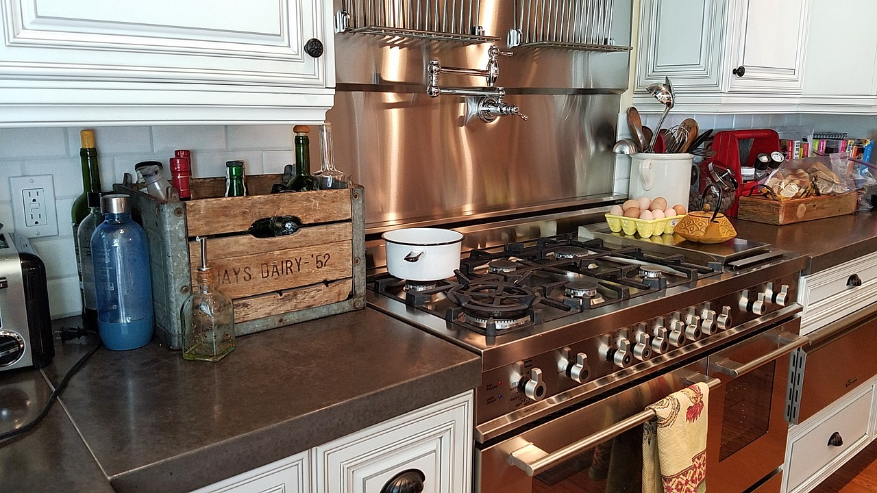 new stove in renovated kitchen